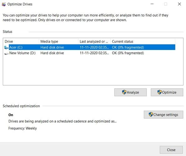 How to defragment in windows 10(select hdd)